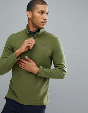 Jack Wolfskin Gecko Half Zip Fleece in Khaki