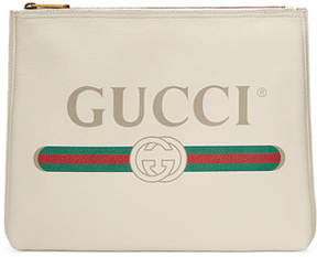 Gucci Print Leather Medium Pouch Clutch Bag - PINK - STYLE