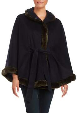 Ellen Tracy Faux Fur-Trimmed Cape