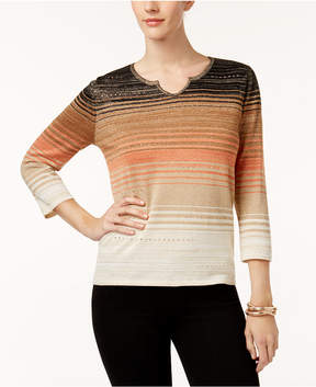 Alfred Dunner Jungle Love Ombre Striped Sweater