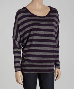 Celeste Purple & Gray Stripe Dolman Top - Women