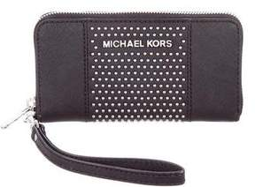 Michael Kors Stud-Embellished Leather Wallet - BLACK - STYLE