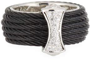 Alor Classique Steel & 18k Diamond Micro Cable Ring, Size 7, Black