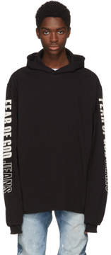 Fear Of God Black Logo Sleeve Hoodie
