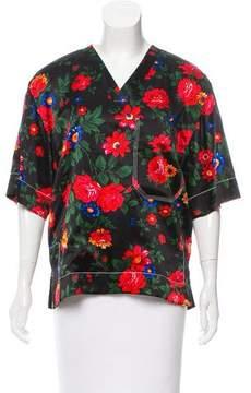 Celine Silk Floral Short Sleeve Top