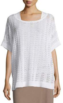 Joan Vass Short-Sleeve Scalloped Easy Sweater, White, Plus Size