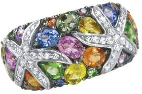 Effy Jewelry Effy Watercolors 14K White Gold Multi Sapphire and Diamond Ring, 3.75 TCW