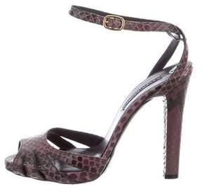 Ralph Lauren Purple Label Snakeskin Cutout Sandals