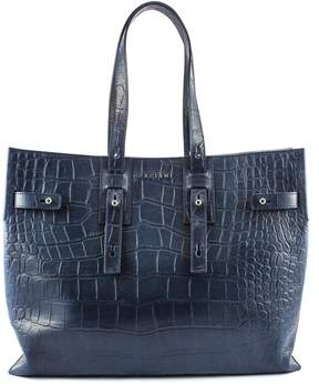 Orciani Blue Cocco Embossed Leather Bag