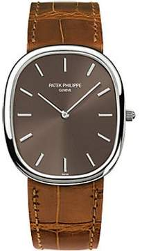 Patek Philippe Golden Ellipse Brown Dial Brown Leather Men's Watch