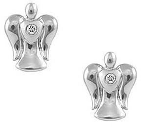 Ice Girls' Sterling Silver Diamond Angel Push On Stud Earrings