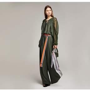 Amanda Wakeley   Khaki Crepe De Chine Wide Leg Trousers   L   Green