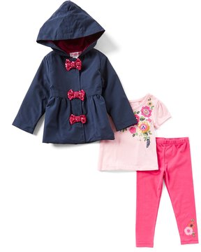 Flapdoodles Little Girls 2T-6X Hooded Coat, Floral Short-Sleeve Tee & Solid Leggings Set