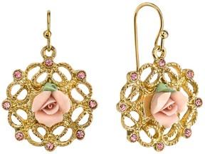 1928 Porcelain Rose Openwork Drop Earrings
