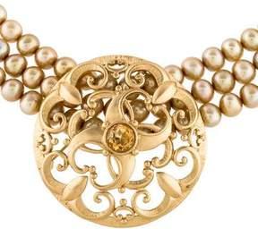 Elizabeth Showers Multistrand Pearl & Crystal Choker Necklace