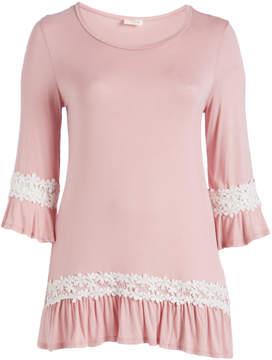 Celeste Dark Pink Floral Lace-Accent Scoop Neck Tunic - Plus