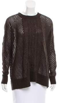 Enza Costa Open Knit Crew Neck Sweater