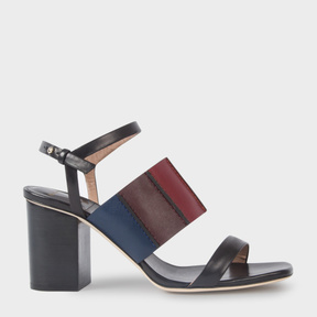 Paul Smith Women's Black Colour-Block Leather 'Constantina' Heeled Sandals