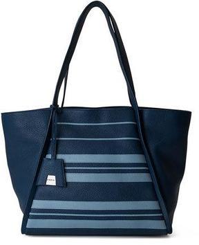 Akris Alex Medium Striped Leather Tote Bag, Blue Pattern