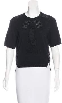 Muveil Embroidered Open Knit Top