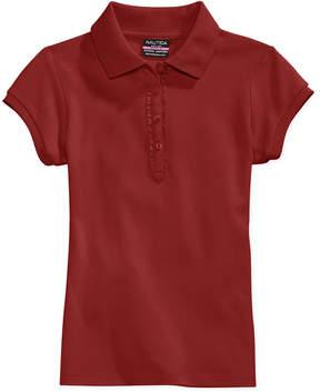 Nautica School Uniform Ruffle Button Placket Polo, Big Girls (7-16)