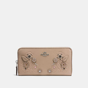 COACH Coach Accordion Zip Wallet In Glovetanned Leather With Tea Rose Tooling - LIGHT ANTIQUE NICKEL/STONE - STYLE