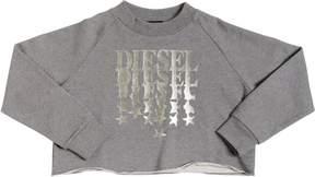 Diesel Metallic Logo Cropped Cotton Sweatshirt