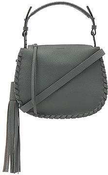 ALLSAINTS Mori Leather Crossbody Bag in Slate.