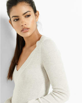 Express marled fitted v-neck sweater