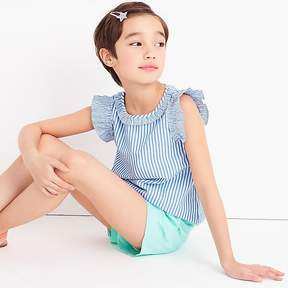 J.Crew Girls' ruffle-trimmed top in shirting stripe