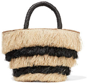 Kayu – Pinata Mini Leather-trimmed Fringed Straw Tote – Black