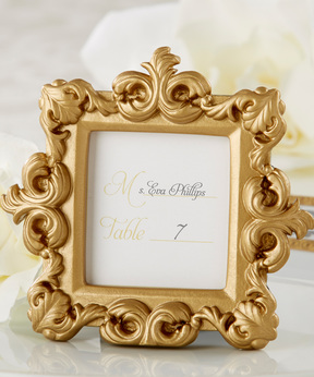 Gold Baroque Place Card Holder/Photo Frame - Set of 12