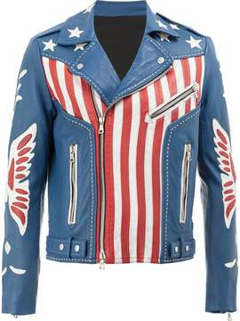 Balmain American flag print leather jacket