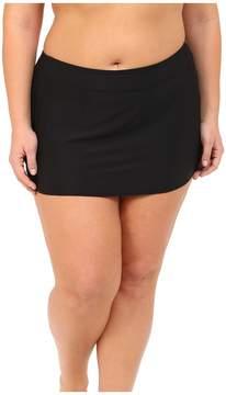 Athena Plus Size Cabana Solids Banded Skirted Pants