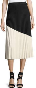 Derek Lam 10 Crosby Colorblocked Pleated Midi Skirt