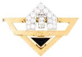 David Webb Diamond & Enamel Pin Brooch