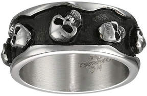 JCPenney FINE JEWELRY Mens Two-Tone Stainless Steel Skull Ring