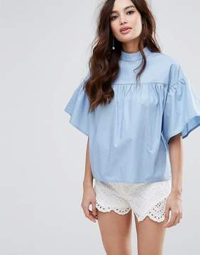 Fashion Union High Neck Top With Wide Sleeves