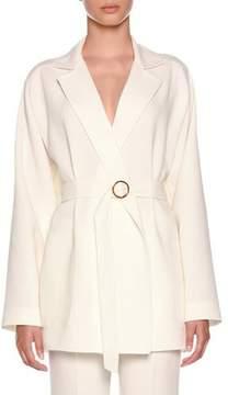 Agnona Notched-Collar Belted Hip-Length Wool Blazer