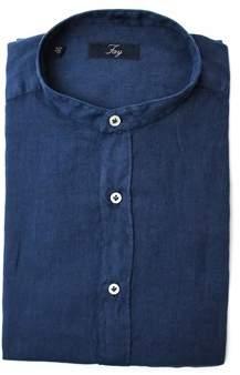 Fay Men's Blue Linen Shirt.