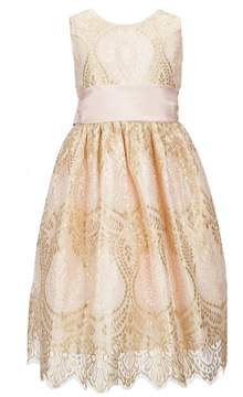 Jayne Copeland Big Girls 7-12 Metallic Lace Fit-And-Flare Dress