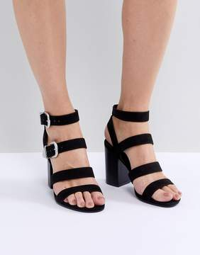 New Look Multi Strap Western Buckle Block Heel Sandal