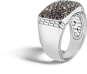 John Hardy Men's Classic Chain Signet Ring in Sterling Silver with Smoky Quartz
