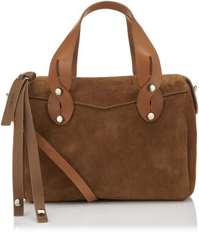 Jimmy Choo ALLIE Cacao Suede Bowling Bag