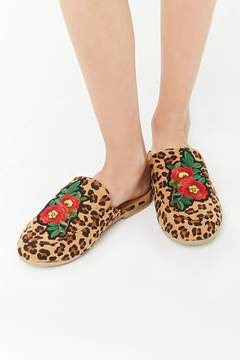 Forever 21 Girls Embroidered Leopard Loafer Mules (Kids)