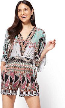 V-Neck Kimono Romper - Mixed Print