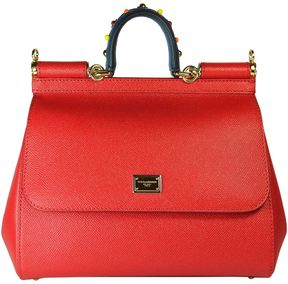 Dolce & Gabbana Red Jewelled Handle Sicily Tote - RED - STYLE