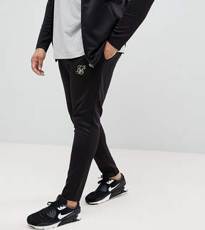 SikSilk PLUS Skinny Track Joggers In Black With Gold Logo Exclusive to ASOS