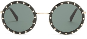 VALENTINO Crystal-embellished round-frame metal sunglasses