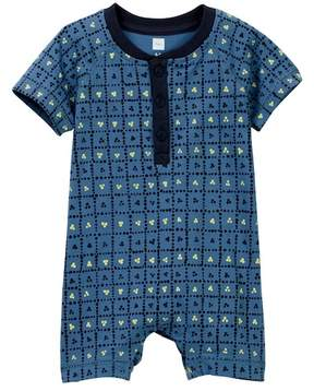 Tea Collection Mina Mina Henley Romper (Baby Boys)